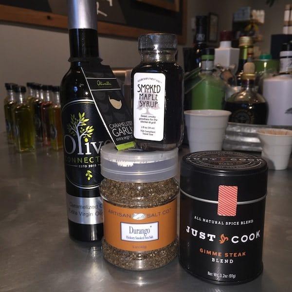 carmelized garlic EVOO, Hickory salt, Gimme Steak Rub, Smoked Maple Syrup