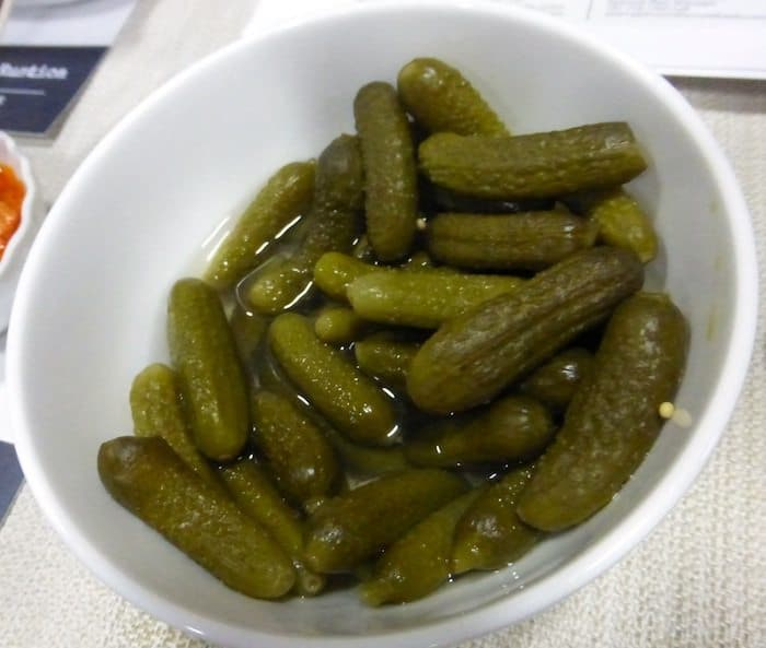 Cornichons-with a sweetness yet tart that we like best