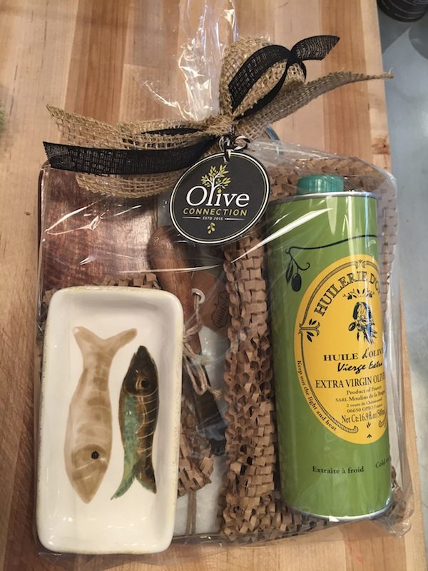 French extra virgina olive oil, cheese and marble board, with serving dish.