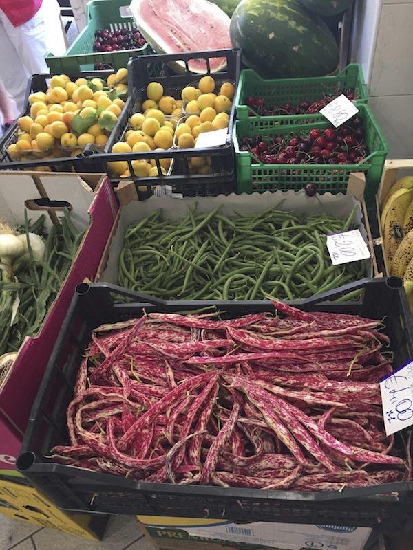 First stop shopping for vegetables for dinner